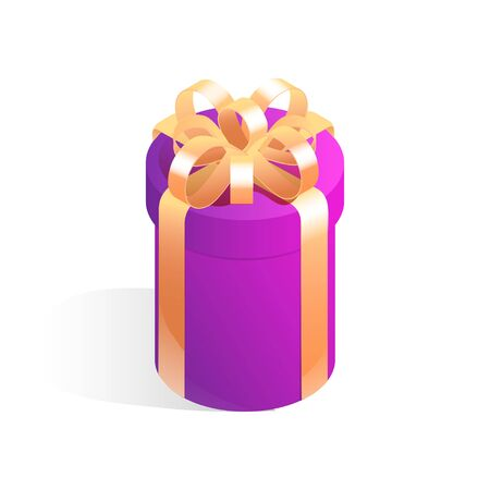 Round gift box. Isometric vector icon with shadow isolated on white background.