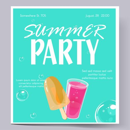 Summer party concept. Template for invitation flyer, banner or poster. Colorful jelly and cocktail shots and bubbles on bright violet background. Vector illustration.