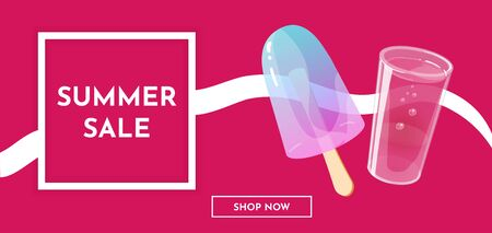 Summer sale banner template with ice cream and fresh juice. Vector illustration. Illustration