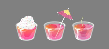 Set of jelly shots with cream, cocktail umbrella and cherry on top. Fresh sweet drink ads concept. Vector collection isolated on gray background.