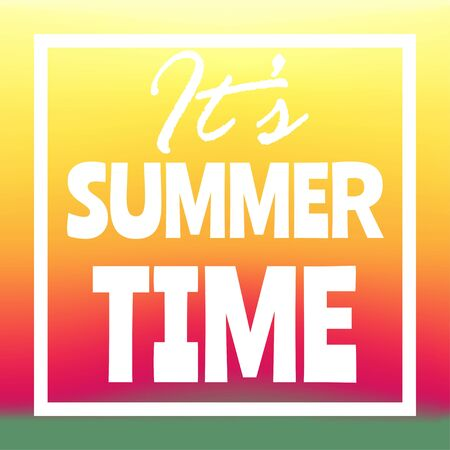 Summer time banner, flyer or poster. Vector illustration with text inside white frame.