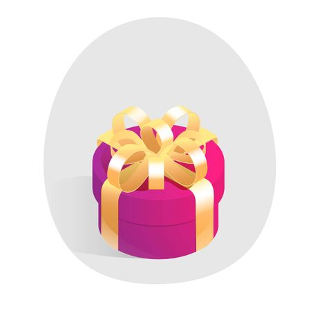 Red round gift box with golden bow. Isometric vector icon in shadow circle isolated on white background. Illustration