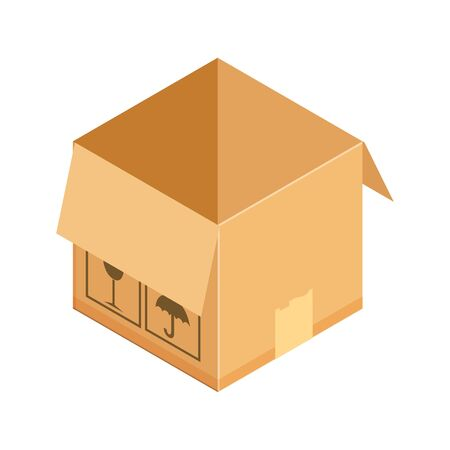 Corrugated box. Concept for cargo shipping, unpacking. Isometric vector illustration isolated on white background. Ilustração