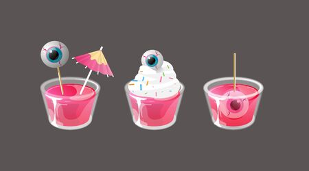 Set of halloween shots. Pink jelly cup with cream topping, cocktail umbrella and spooky eye on stick. Vector collection isolated on gray background.