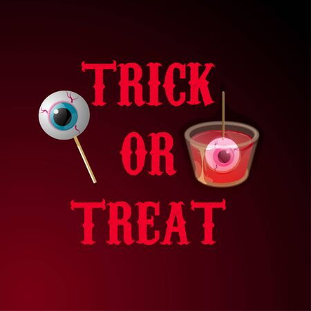 Halloween cocktail shot with eyes in jelly and on stick. Trick or treat. Vector banner template.