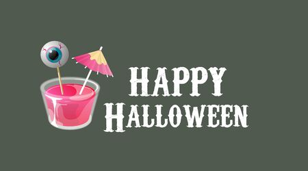 Happy halloween. Cocktail shot with umbrella and eye on stick. Vector banner template.