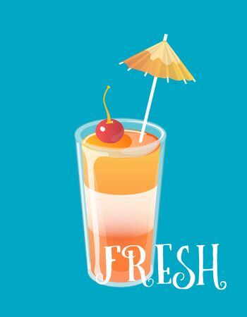 Cocktail jelly shot with cherry on top. Fresh sweet drink ads concept. Vector illustration. 向量圖像