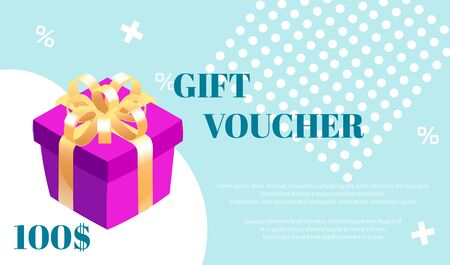 Gift voucher. Vector template with gift box and white graphic elements on blue background.