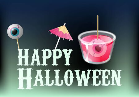 Happy halloween. Cocktail shot with spooky eyes in jelly and on stick. Vector banner template.