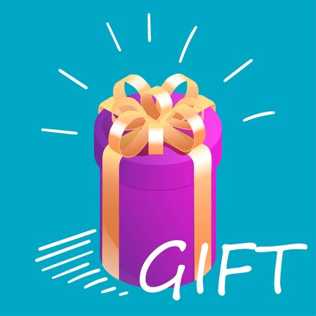 Round isometric gift box with graphic motion elements. Surprise present concept. Vector illustration on bright blue background.