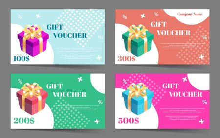 Gift voucher collection. Set of vector templates with gift boxes.