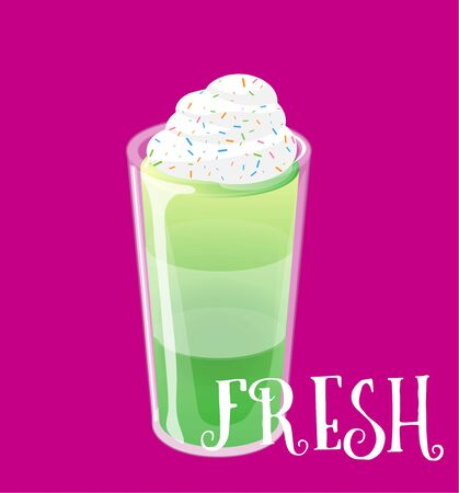 Cocktail jelly shot with cream topping. Fresh sweet drink ads concept. Vector illustration.