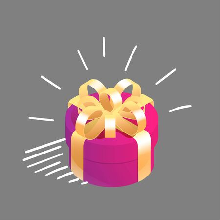 Round isometric gift box with graphic motion elements. Symbol of happiness, joy. Vector illustration.