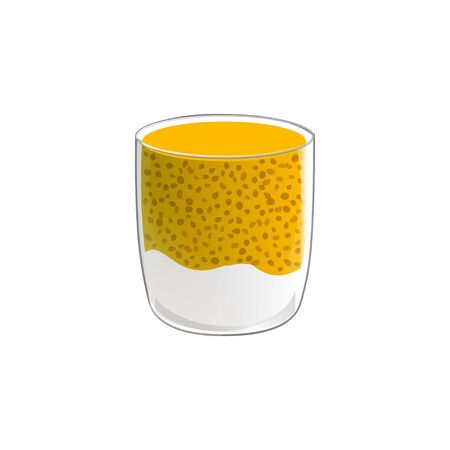 Chia seed pudding. Healthy vegan snack in glass with mango and cream. Vector illstration isolated on white background. Illustration