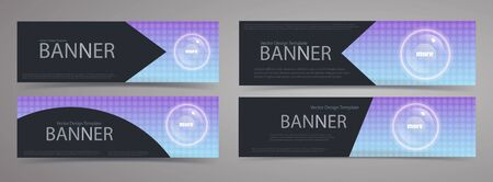 Set of modern black banner with gradient background and white shiny circle button. Vector template.
