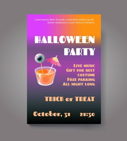 Halloween party flyer or poster. Vector template with cocktail jelly shot and spooky eye on stick. Trick or treat concept.