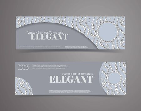 Set of banners with pearl pattern background. Elegant design vector template. Illustration