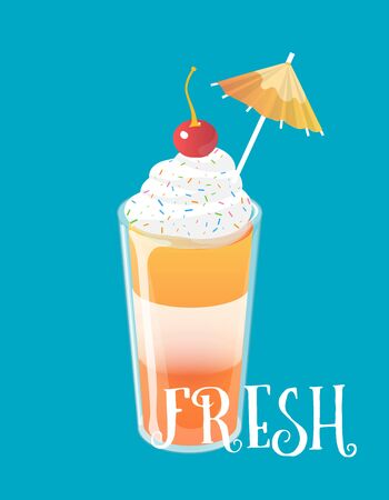 Cocktail jelly shot with cream and cherry on top. Fresh sweet drink ads concept. Vector illustration. Illustration