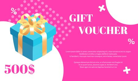 Gift voucher. Vector template with gift box and white graphic elements on pink background. Illustration