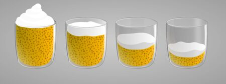 Set of chia seed pudding with mango. Healthy vegan snack with cream top. Full, half and almost empty glass. Vector illustration isolated on gray background. Ilustração