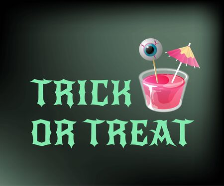 Halloween jelly shot with eye on stick and cocktail umbrella. Trick or treat. Vector banner template. Иллюстрация