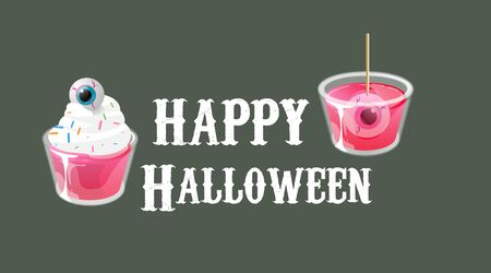 Happy halloween. Cocktail shots with eyes in jelly and on cream top. Vector banner template.
