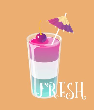 Cocktail jelly shot with cherry on top. Fresh sweet drink ads concept. Vector illustration. Archivio Fotografico - 129818572