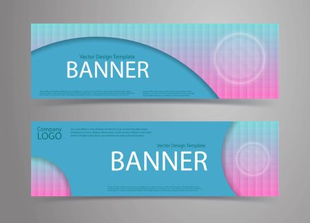 Blue banners with holograhic pattern background and white button. Vector template set.