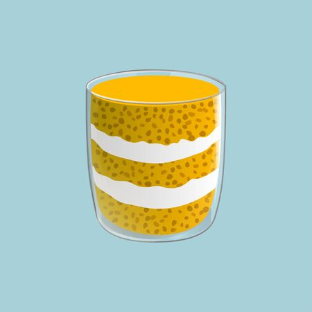 Chia seed mango pudding. Healthy vegan snack in glass with whipped cream. Vector illstration isolated on blue background. Ilustração