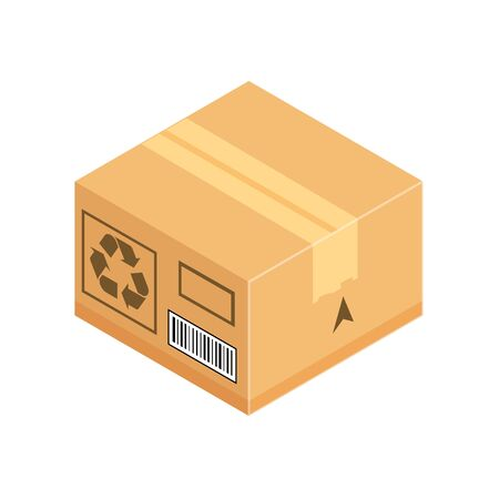 Corrugated box. Isometric vector icon isolated on white background. Concept for unpacking, delivery, cargo shipping.