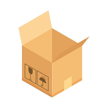 Corrugated box. Concept for cargo shipping, unpacking. Isometric vector illustration isolated on white background. Standard-Bild - 129818578