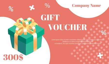 Gift voucher. Vector template with gift box and white graphic elements on coral background. Illustration