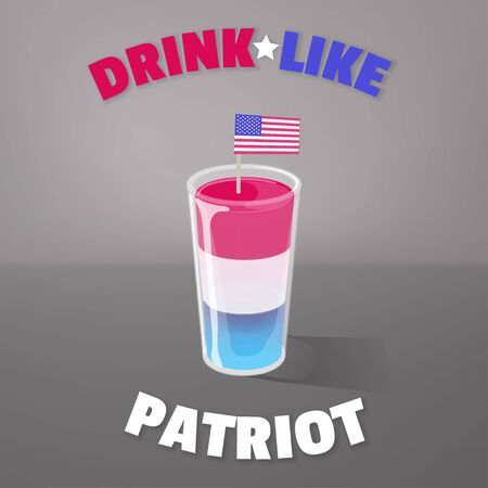 Patriotic cocktail shot. Jelly layered in cup with american flag on top. Vector banner or ads concept. Drink like patriot. 向量圖像