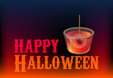 Happy halloween. Cocktail shot with spooky eye in jelly. Vector banner template. Иллюстрация