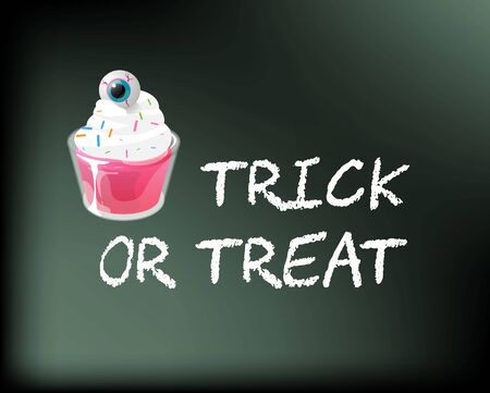 Halloween jelly shot with cream and spooky eye on top. Trick or treat. Vector banner template. Иллюстрация