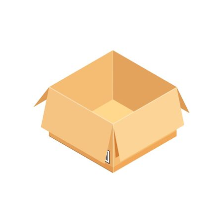 Open corrugated isometric box. Concept for cargo shipping, unpacking.Vector icon isolated on white background. Standard-Bild - 129818589