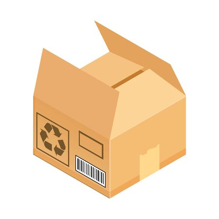 Open corrugated isometric box. Concept for cargo shipping, unpacking.Vector icon isolated on white background.