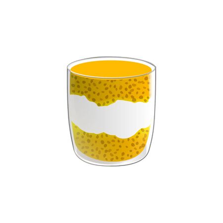 Chia seed pudding. Healthy vegan snack in glass with mango and cream. Vector illstration isolated on white background. Standard-Bild - 131992504