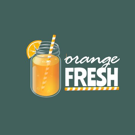 Banner with homemade lemonade in vintage glass jar. Orange fresh. Concept for juice ads.