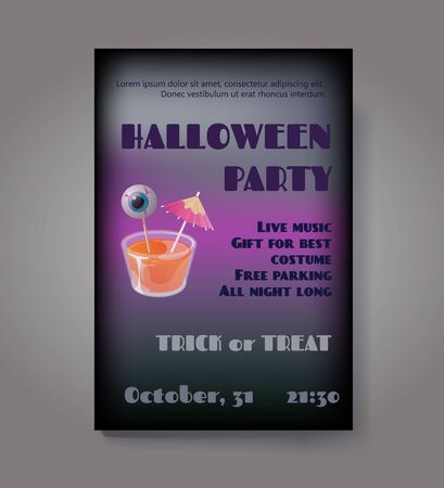 Halloween party flyer or poster. Vector template with cocktail jelly shot and spooky eye on stick. Trick or treat concept. Фото со стока - 137967538