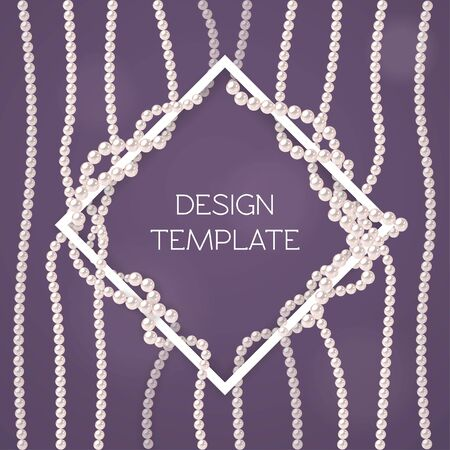 Elegant design template. White frame with pearl strings on dark purple background. Vector template for banner, flyer or wedding invitation. Concept for grand opening or great offer. Ilustracja