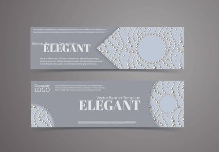 Set of banners with pearl pattern background. Elegant design vector template. Ilustracja