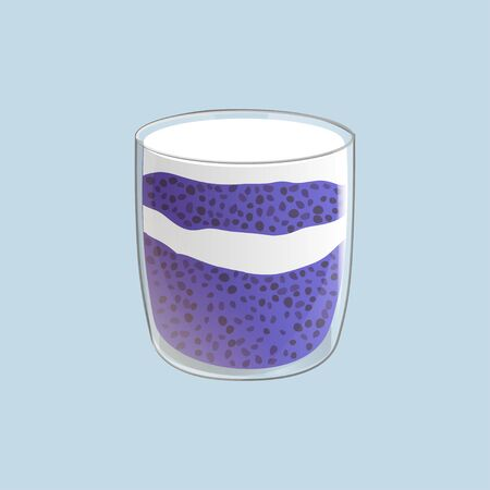 Chia seed pudding. Blueberry vegan snack in glass. Vector illstration isolated on blue background.