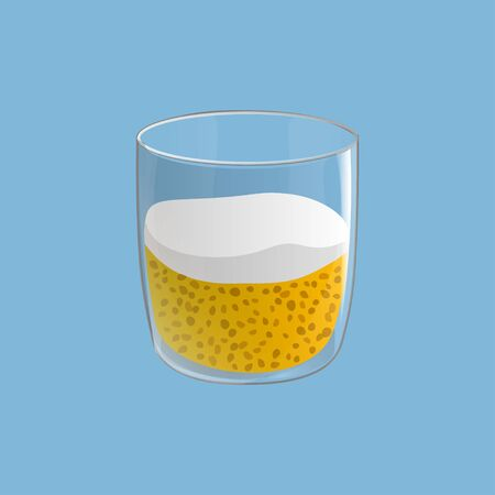 Chia seed pudding. Healthy vegan snack in glass with mango and cream. Vector illstration isolated on blue background.