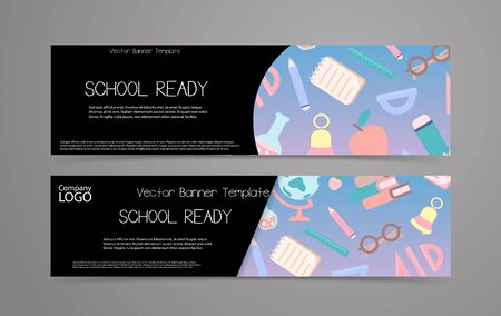 School banner set. Vector template with school supplies background and place for text.