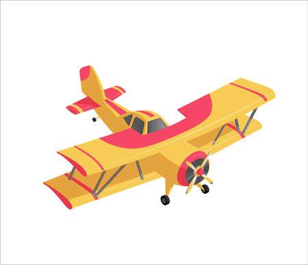 Retro farming airplane, crop duster in cartoon style Illustration
