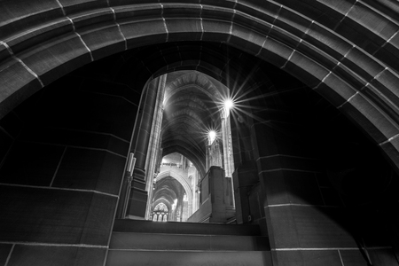 Liverpool Anglican Cathedral as seen from the bottom of the steps of the ambulatory Stock Photo
