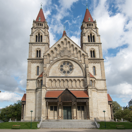 The famous St Francis of Assisi Church in Mexicoplatz, Vienna, Austria.