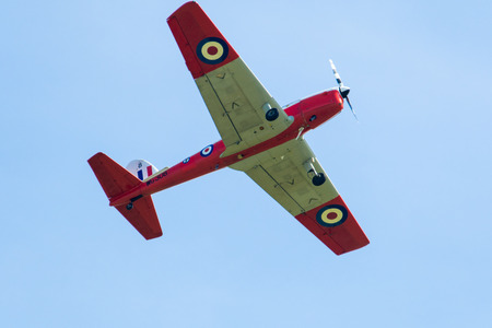 TELFORD, UK, JUNE 10, 2018 - A photograph documenting a vintage de Havilland Chipmunk aircraft at RAF Cosford as part of the RAF 100 Centenary air show celebration