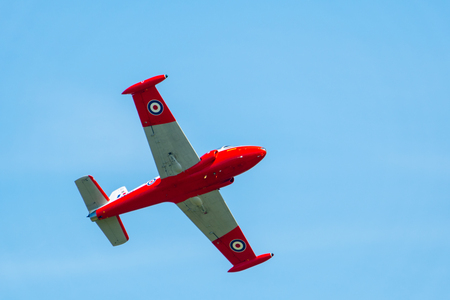 TELFORD, UK, JUNE 10, 2018 - A photograph documenting a 1950s era BAC Jet Provost training aircraft display at RAF Cosford Air Show for the RAF 100 Centenary Celebrations